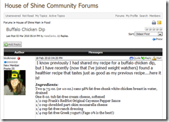 House of Shine Website Forum - user starts a conversation.